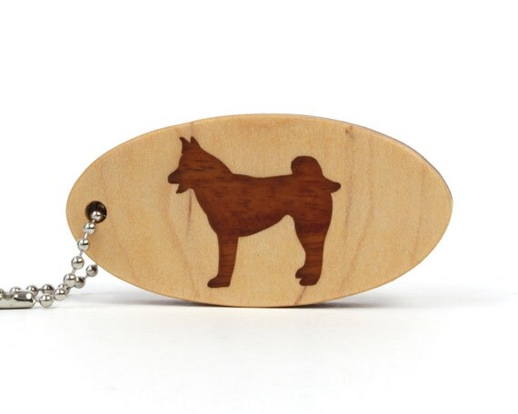 Akita Key Chain Malamute Key Ring Wooden Sled Dog Key Fob Wood Pet Key Ring Dog Accessories Mahogany