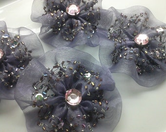 2 Pieces Handmade Dark Purple Organza Flowers Appliques with Beads, Sequins and Large Rhinestones
