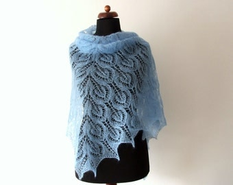 blue lace shawl, bridal cover up, handknit, winter wedding wrap