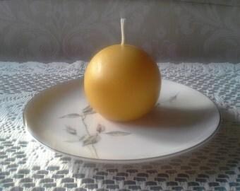 "Natural Handmade 100% Beeswax Candle - 2.5"" ball"