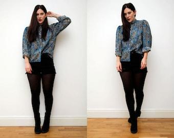 Vinatge Paisley Floral Slouch Blouse Boho Shirt Blouse 60s