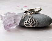 Crystal Keyring, Rough Amethyst Gemstone, Lotus Flower, Key Ring, Keychain, Purple Keyring, Yoga Gifts, UK Accessories