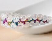 Rainbow Beaded Bracelet with crackled Quartz and metallic macrame thread