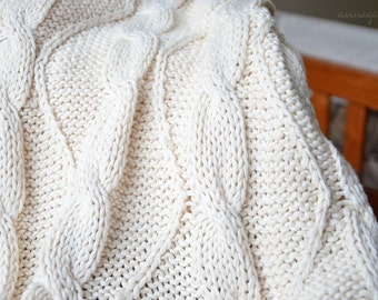 Cable knit fabric. Organic cotton chunky knit yardage. Make baby blankets, knitted pillows, lap blankets, cross body totes.