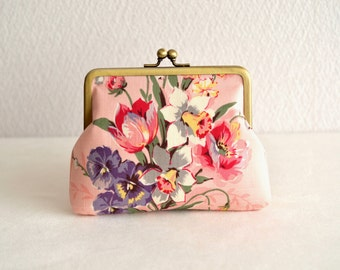 Christmas sale!  Lovely floral frame purse - pink Japanese fabric. floral bouquet. novelty.