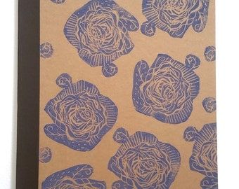 A5 Notebook Lino print Lined Notebook Journal //Blue Rose Pattern//Recycled Vegan Linocut
