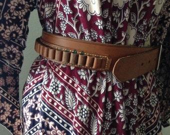 Vintage leather bullet holster belt