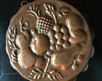 Vintage Fluted Copper Fruit Mold