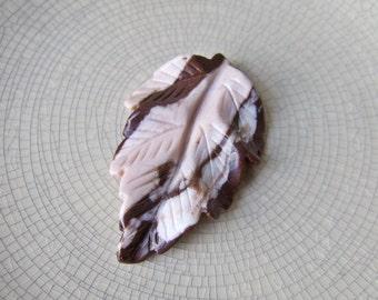 Carved Jasper Leaf Pendant - Destash