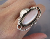 Vintage Sterling Mother of Pearl Native American Ring