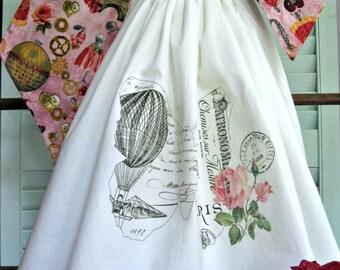 Tie on Flour Sack Towel-French Script/Guest Bath Decor/Powder Room Decor/Shabby Rose Decor/Country Home Bath Towel