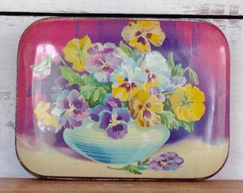 Vintage English Blue Bird Toffee Floral Shabby Chic Candy Tin