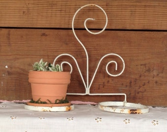 Vintage Antique White Wrought Iron Hanging Shabby Chic Double Pot Planter
