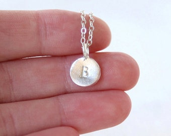 Initial Stamped Sterling Silver Disc Necklace // Simple everyday hammered initial jewelry
