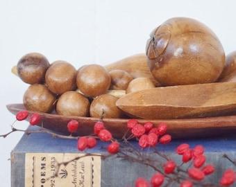 Vintage Hand Carved Wooden Fruit Set | Vintage Home Decor | Wooden Decor | Decorative Fruit