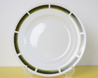 Retro Swinnertons Plate, SALE, Vintage Green and White Dinner Plate, Leaf Pattern Vintage Dinner Plate, 60s Vintage Plate