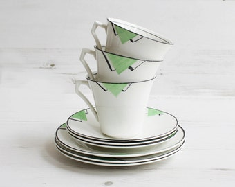Vintage Teacup and Saucer Trio Set - Green Art Deco Geometric Drinking Serving Display Tea Cake Pottery