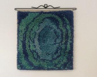 Hand Woven Rya Rug Vortex in Blues, Loom Woven Rya,  Tapestry, wall hanging, fibre art, wool rug, rya tapestry,