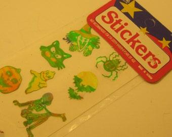 Vintage Holographic Halloween Stickers Craft Supplies Embellishment