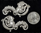 Green Man Silver Plated Brass Vintage Style Pendants or Wraps  S-P74