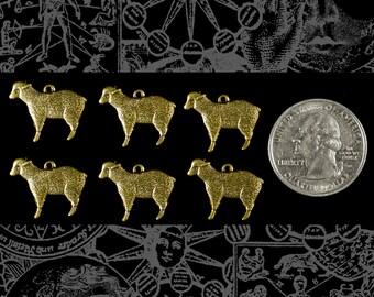 Six Antique Brass Sheep Charms  * AB-C150