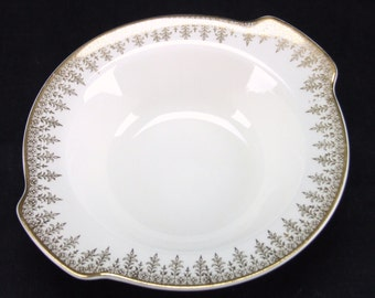 W S George Derwood Soup Sald Bowl with Handles 22k Gold Trim USA 1930s