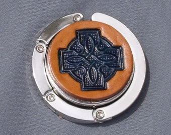 Collapsable Celtic knot 4 purse hook handtooled leather tan and blue