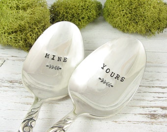 Stamped Spoons. Yours and Mine. Vintage Dessert Spoons. Great Engagement, Wedding or Anniversary Gift. Customized with Names. 574SP
