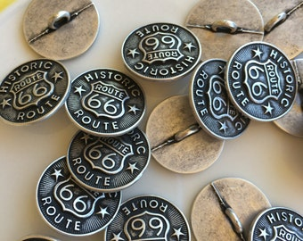 Route 66 Buttons - Silver Metal - 19 mm - 3/4 inch