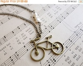 50% OFF SALE Darling bicycle and pearl necklace, Pedal Pusher