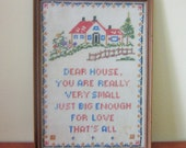 Mid Century Needlepoint, Framed, Small House Verse, Vintage, Retro