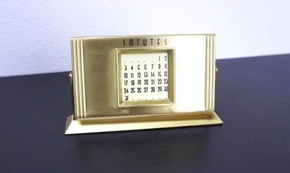 Perpetual Calendar Art Deco : Vintage perpetual desk calendar art deco style brushed brass