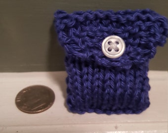 Super tiny something blue pima cotton knitted trinket purse wedding engagement ring pouch