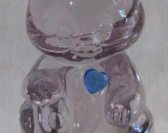 Fenton Glass Bear Figurine, Blue Heart, Light Amethyst Color in the Glass, Label