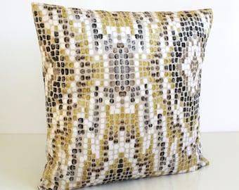 Ikat Pillow Cover, 16 Inch Pillow Sham, 16x16 Cushion Cover, Velvet Pillows - Ikat Velvet Gold