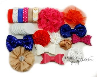 Rosalie Headband Kit - Fuchsia, Orange, Blue, White, and Beige - Makes 12 Headbands - Baby Shower Station, Baby Headbands, DIY Headbands