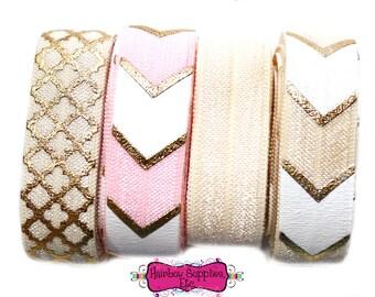 Fold Over Elastic Hair Ties Kit - Pink/Gold/Ivory - Delightful - FOE Elastic, Quatrefoil, Arrows, Tribal Elastic - Hairbow Supplies, Etc.