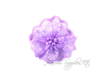 Purple Lace Twirl Flowers 1-1/2 inches -Fabric Flowers, Lace Flowers, Hair Flowers, Wedding Flowers, Flowers for Headbands, Headband Flowers