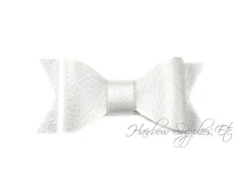 Silver Faux Leather Bows 2-1/2 inches- Silver Leather Bow, Silver Leather Hair, Silver Faux Leather, Silver Leather Bow Headband