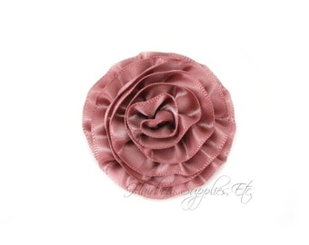 Mauve Rose Ruffle Silk Flowers 2 inch - Mauve Flowers, Mauve Hair Flowers, Mauve Silk Flower, Mauve Flowers For Hair, Mauve Hair Accessories
