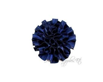 Navy Ruffle Flower Silk Mini 2 inch - Navy Fabric Flowers, Navy Silk Flowers, Navy Hair Flowers, Navy Flowers for Hair, Navy Flowers