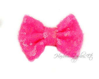 Bright Pink Sequin Bows Small 3 inch - Sequin Bow Headband, Sequin Bow Tie, Sequin Hair Bow, Sequin Hair Bows, Sequin Baby Bows, Sequin