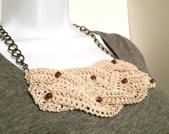 Ivory Braided Crocheted Bib Necklace with Brown Bead Accents
