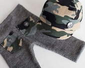 newborn boy HAT & PANTS with pockets (Fletcher) - photography prop - black, grey, green, tan, camouflage