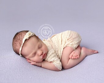 newborn girl lace romper with bow (Isabella) - photography prop - cream, lace, beige