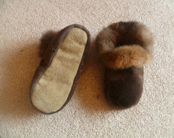 New Zealand Possum Natural Brown Fur Moccasin Style Slippers with Soft Leather Sole