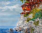 Original Oil Painting on canvas Palette Knife painting Italian Village Flower painting House Street Bistro Sunny Hot impasto Art Marchella