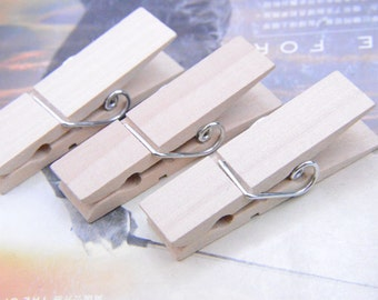 Large Natural wooden Pegs, wood clothpin, solid wood cloth clips,unfinished wooden Pegs with springs 20 pieces 18x73x17mm