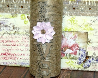 Shabby Chic Upcycled LOVE Wine Bottle Pink Flowers Twine Wrapped Indie Home Decor Art Bohemian Cottage Boho Hippie Chic