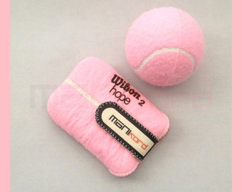 PINK Handmade Repurposed Tennis Ball Credit Card/Business Card Sleeve